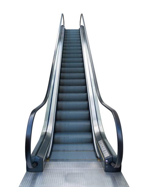 Rolltreppen treten vor Einkaufszentrum isoliert auf weißem Hintergrund mit Clipping-Pfad – Foto