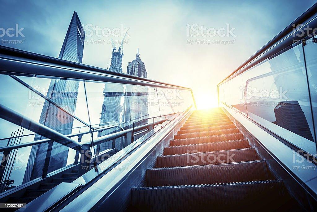 escalator to modern city stock photo