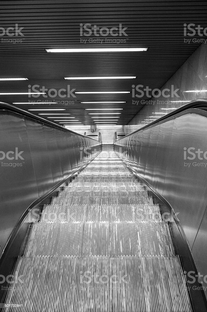 Escalators. BW image stock photo