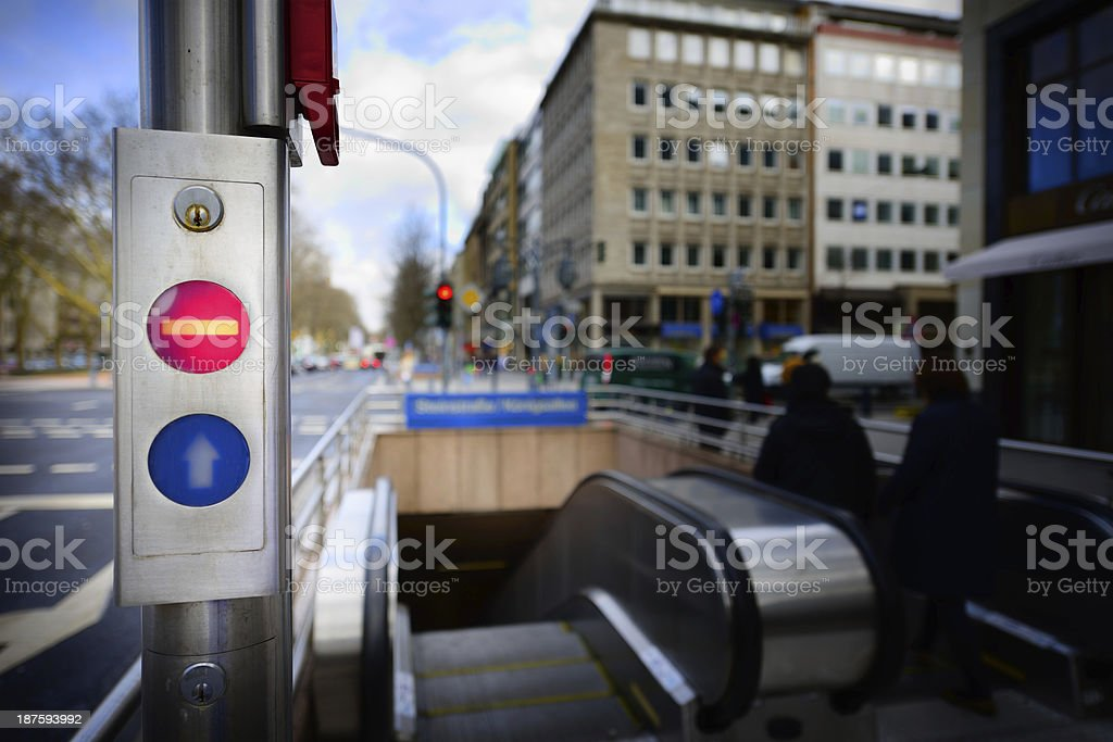 Escalators going up fromn subway royalty-free stock photo
