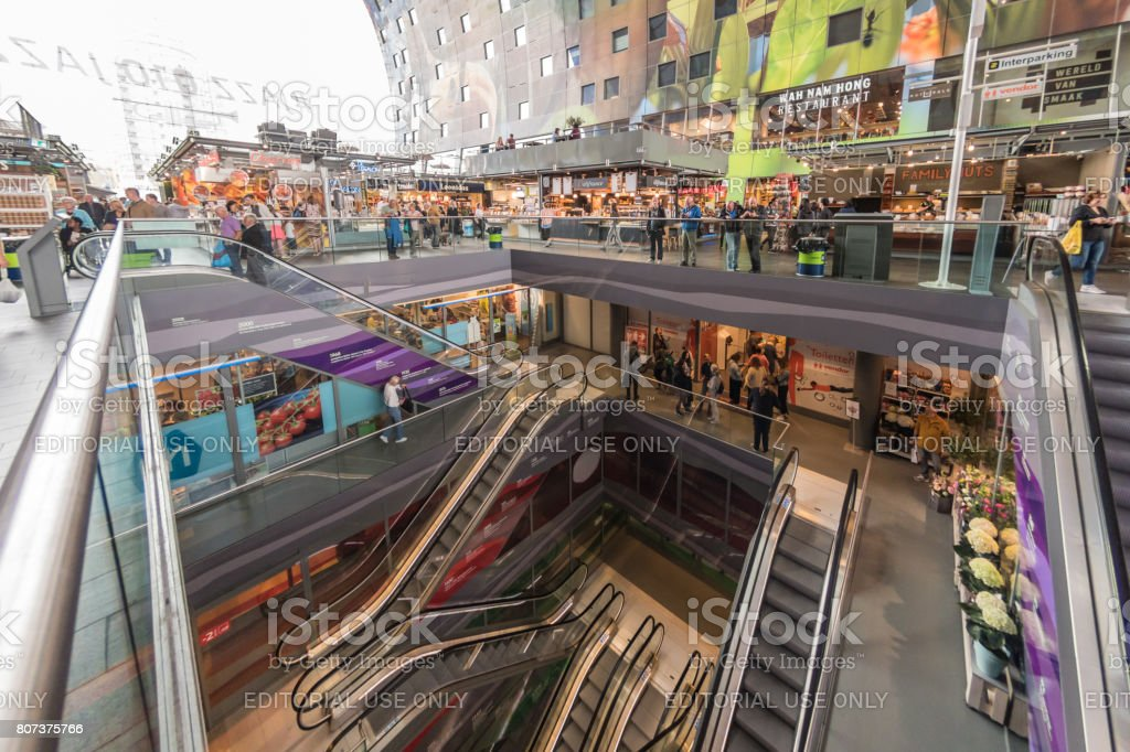 Escalators in Markthal Market in Rotterdam stock photo