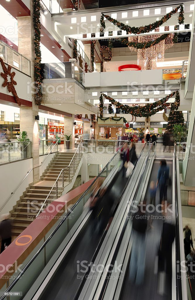 Escalators in Shopping Mall royalty-free stock photo