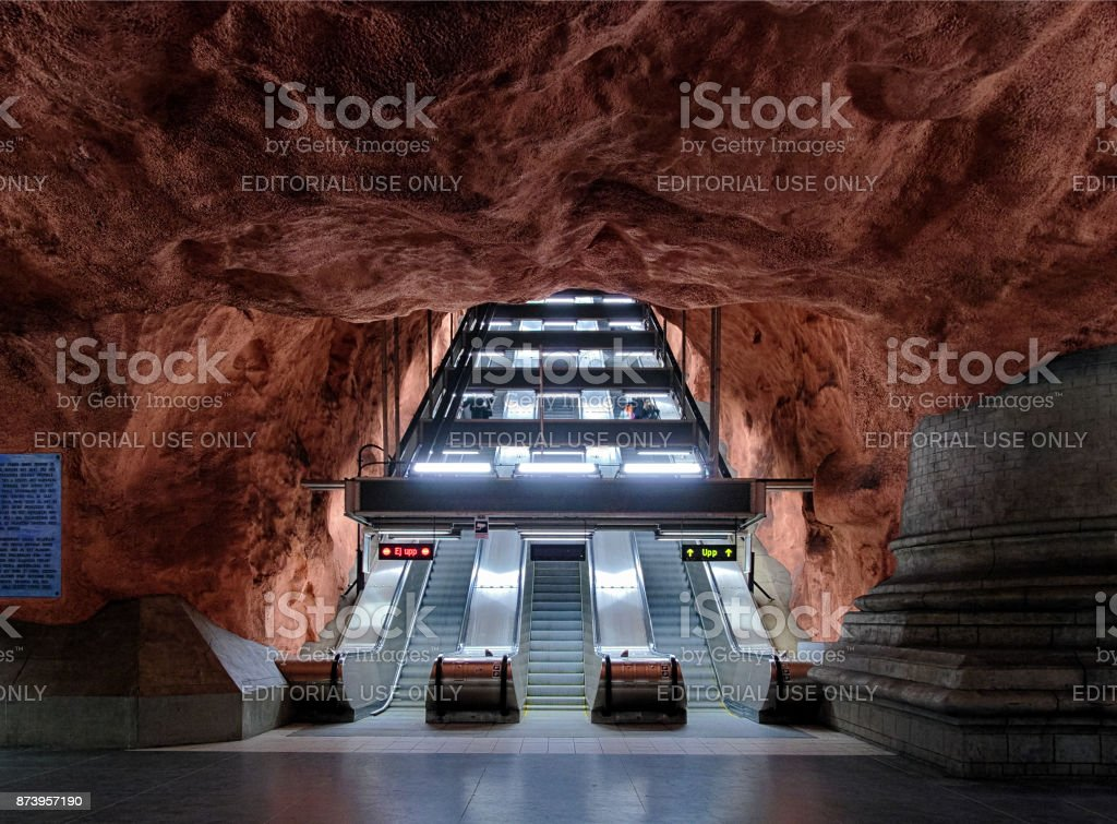 Escalators of Radhuset metro station in Stockholm, Sweden stock photo
