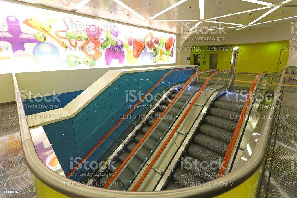 Escalators Universita Napoli stock photo