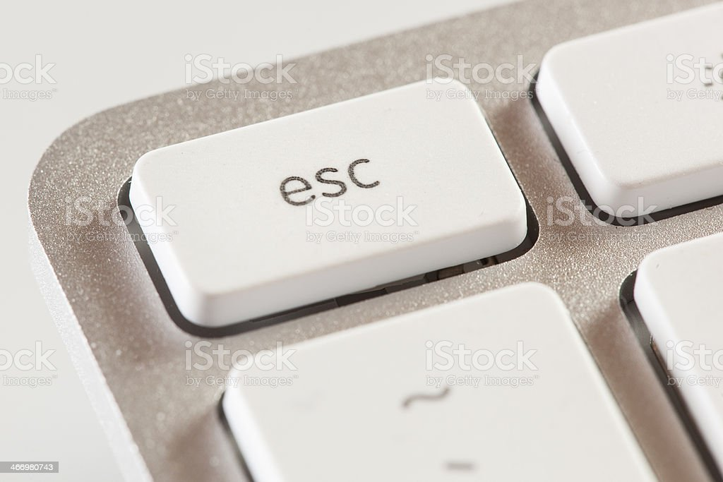 Escape Button on a White and Grey Computer Keyboard stock photo