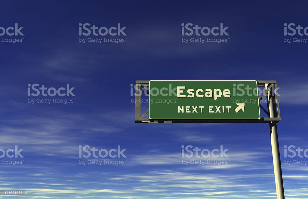 Escape - Freeway Exit Sign stock photo