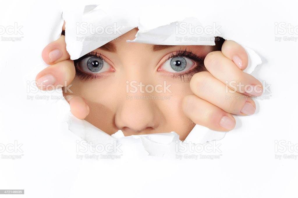 escape from broken paper stock photo