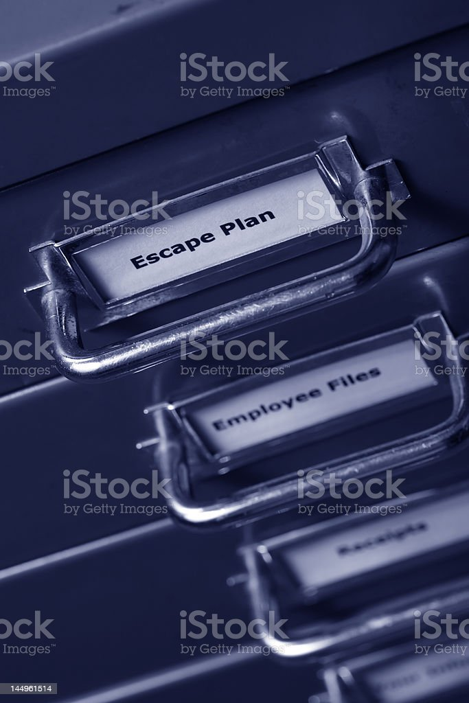 Escape plan label on a filing cabinet stock photo