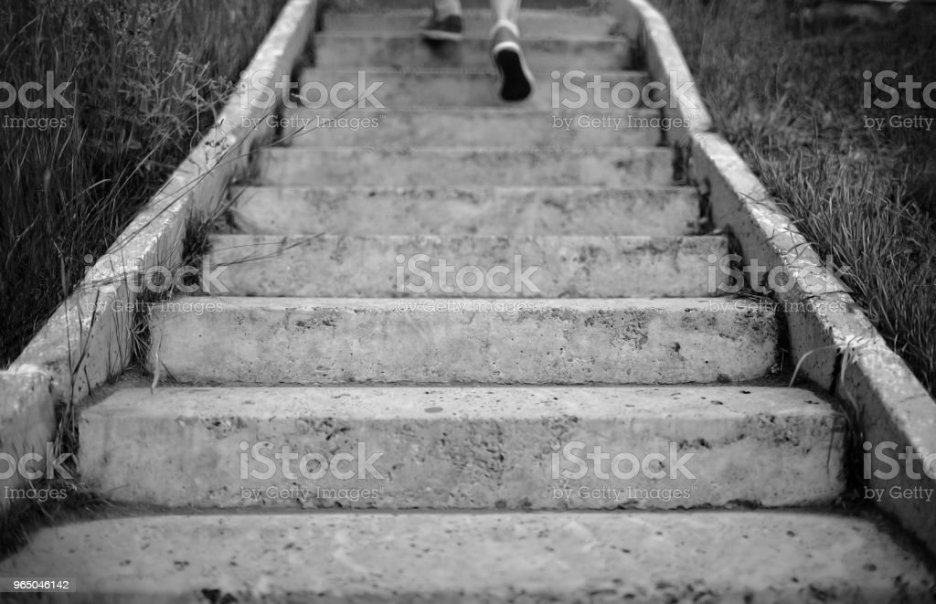 Escape the old stairs outdoors royalty-free stock photo