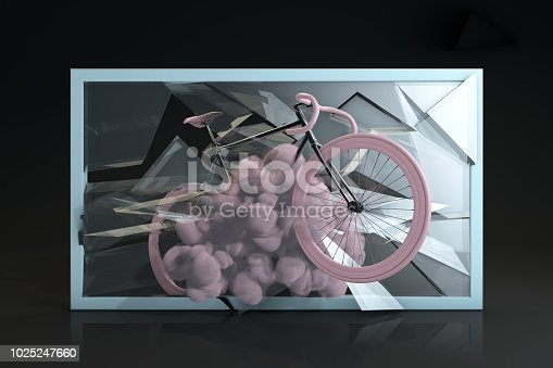 istock Escape with bicycle, breaking glass 1025247660