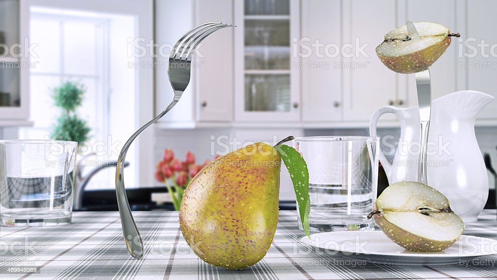 Escaping from the cutlery stock photo