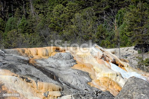 Mounds of travertine compose Mammoth Hot Springs.  Steam escapes from vent in Upper Terrace in Yellowstone National Park.