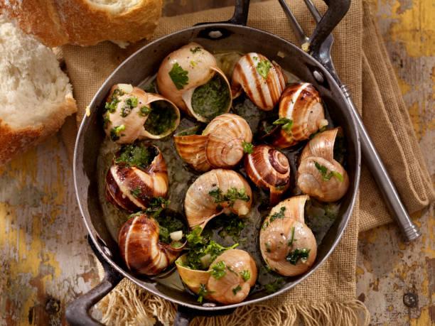 caracoles - comida francesa fotografías e imágenes de stock