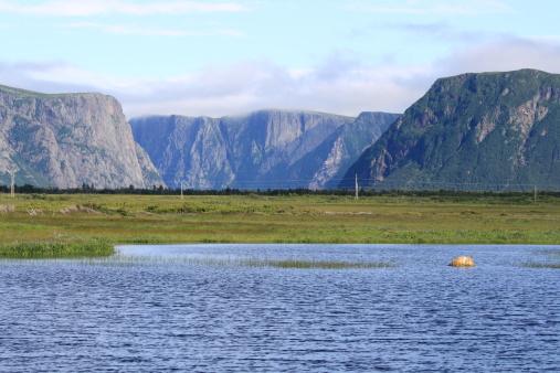 Escarpment and fjords and Western Brook Pond in Gros Morne National Park, Newfoundland, Canada.