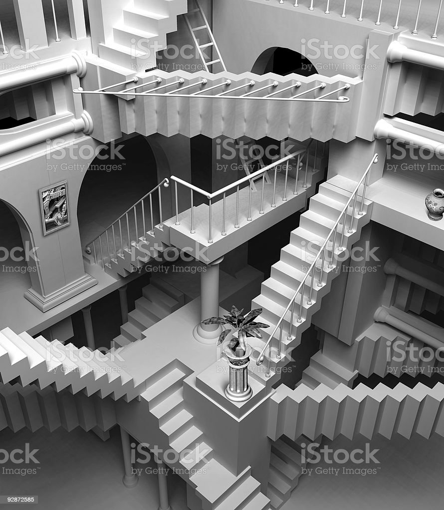 Escher stairs stock photo
