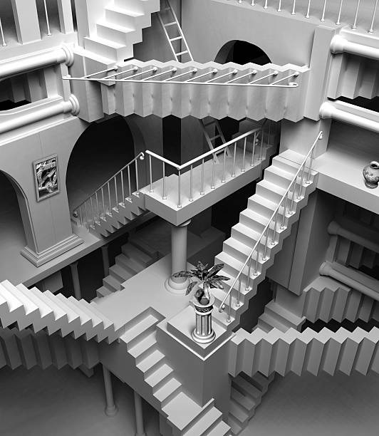 escher stairs - infinity stock photos and pictures