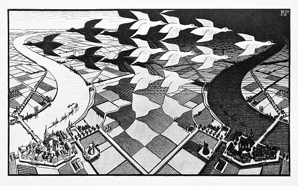 """mc escher's woodcut print """"day and night"""" (1938) - illusion stock photos and pictures"""