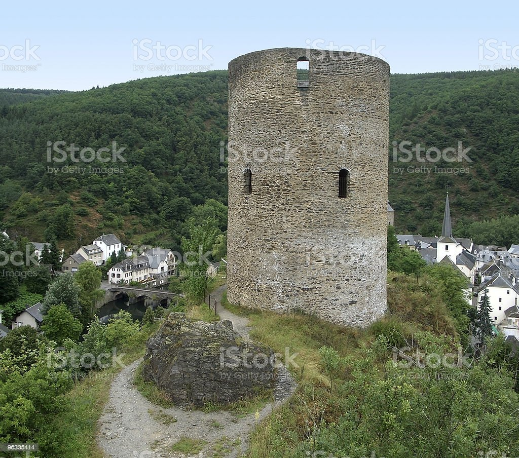 Esch-sur-Sûre and castle ruin royalty-free stock photo