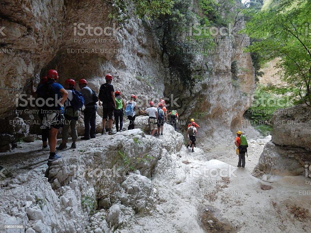 Escursionisti in fila indiana Lizenzfreies stock-foto