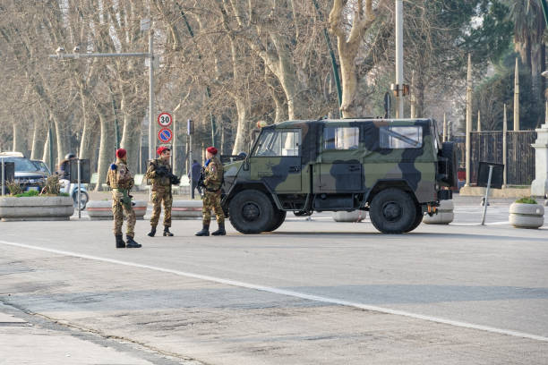 Esercito Italian Army land defense force vehicle as a part of 'Operation Safe Streets' at Napoli waterfront. stock photo