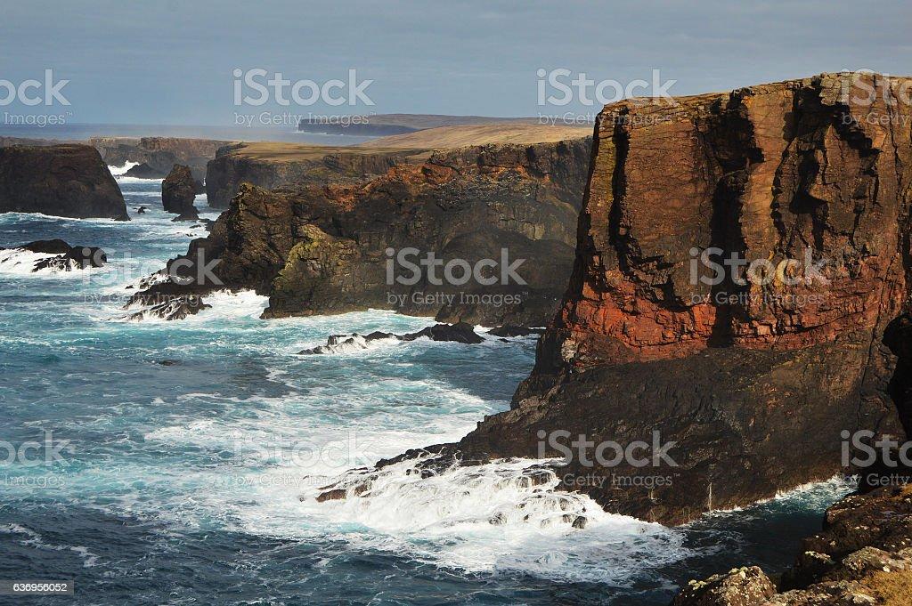 Eshaness cliffs beautiful scenery stock photo