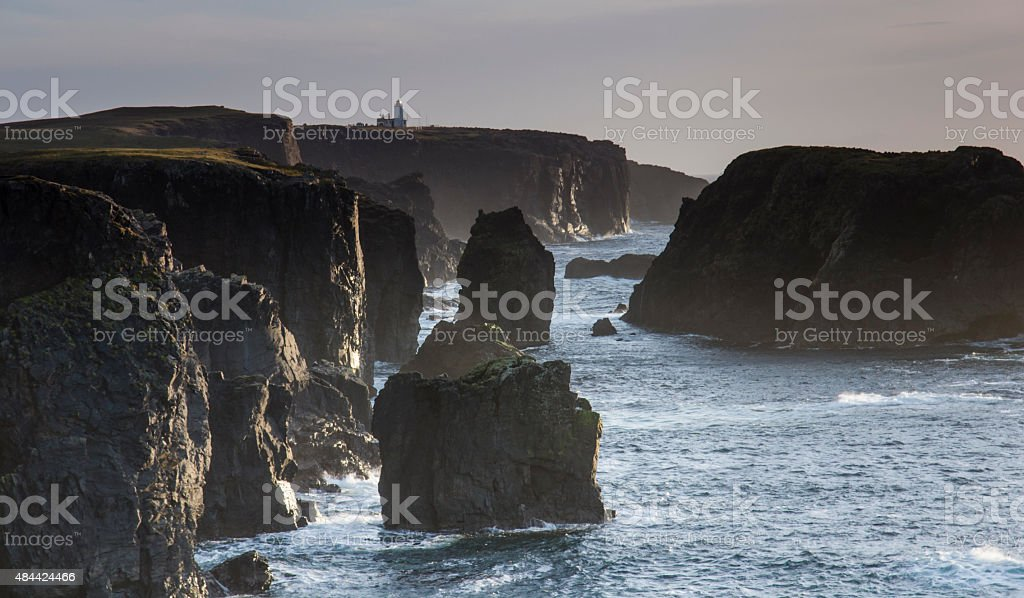 Eshaness in Shetland looking towards the lighthouse stock photo