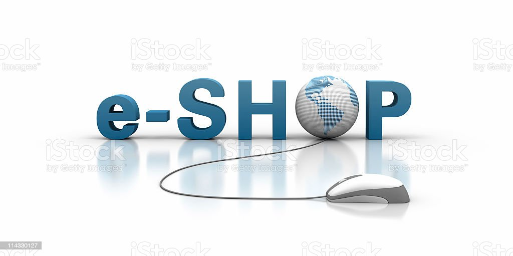 e-shop Text with Earth Globe and Computer Mouse royalty-free stock photo