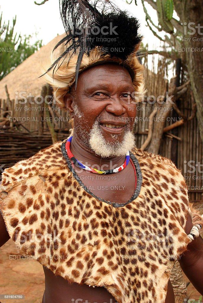 Eshowe, KwaZulu-Natal, South Africa.Zulu elder in traditional clothing stock photo