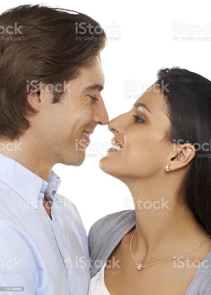 Eskimo kiss royalty-free stock photo