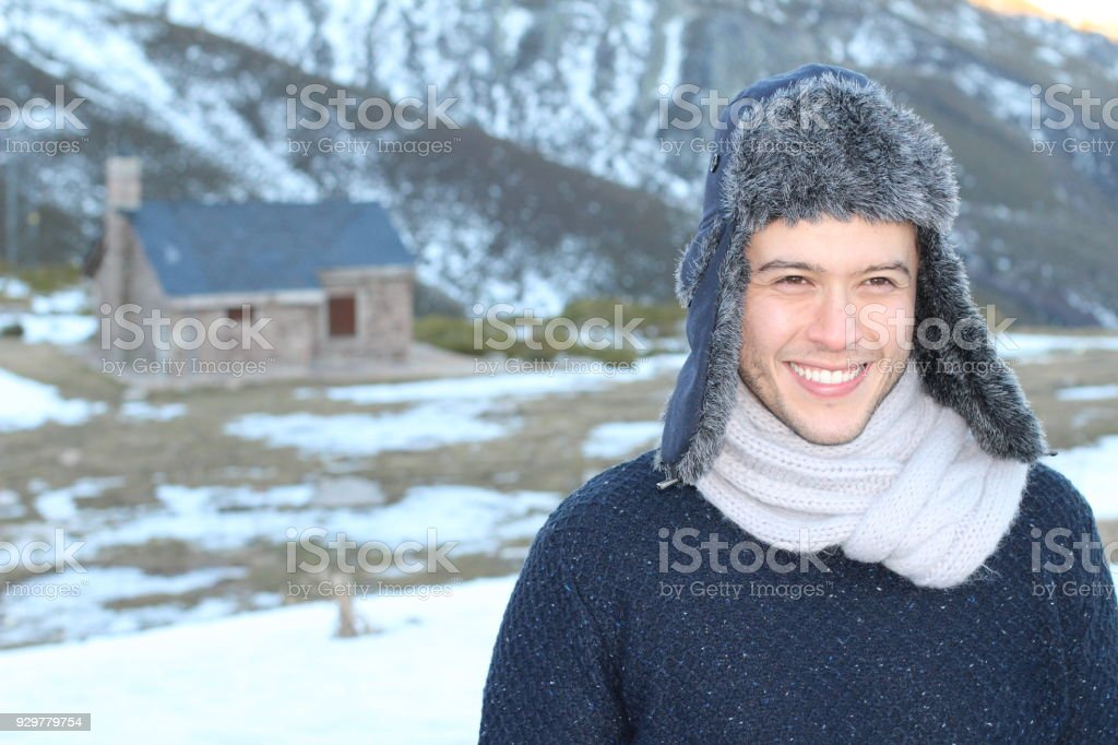 Eskimo male smiling outdoors with copy space stock photo