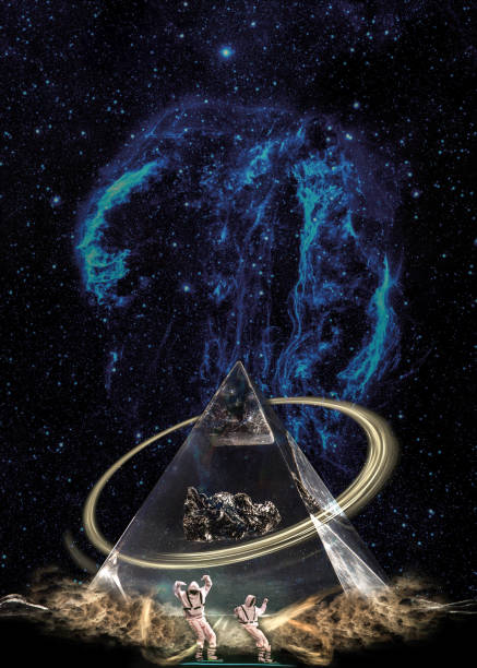 Esoteric pyramid in clouds under the starry galaxy with ring and two figures. Elements of this image furnished by NASA.