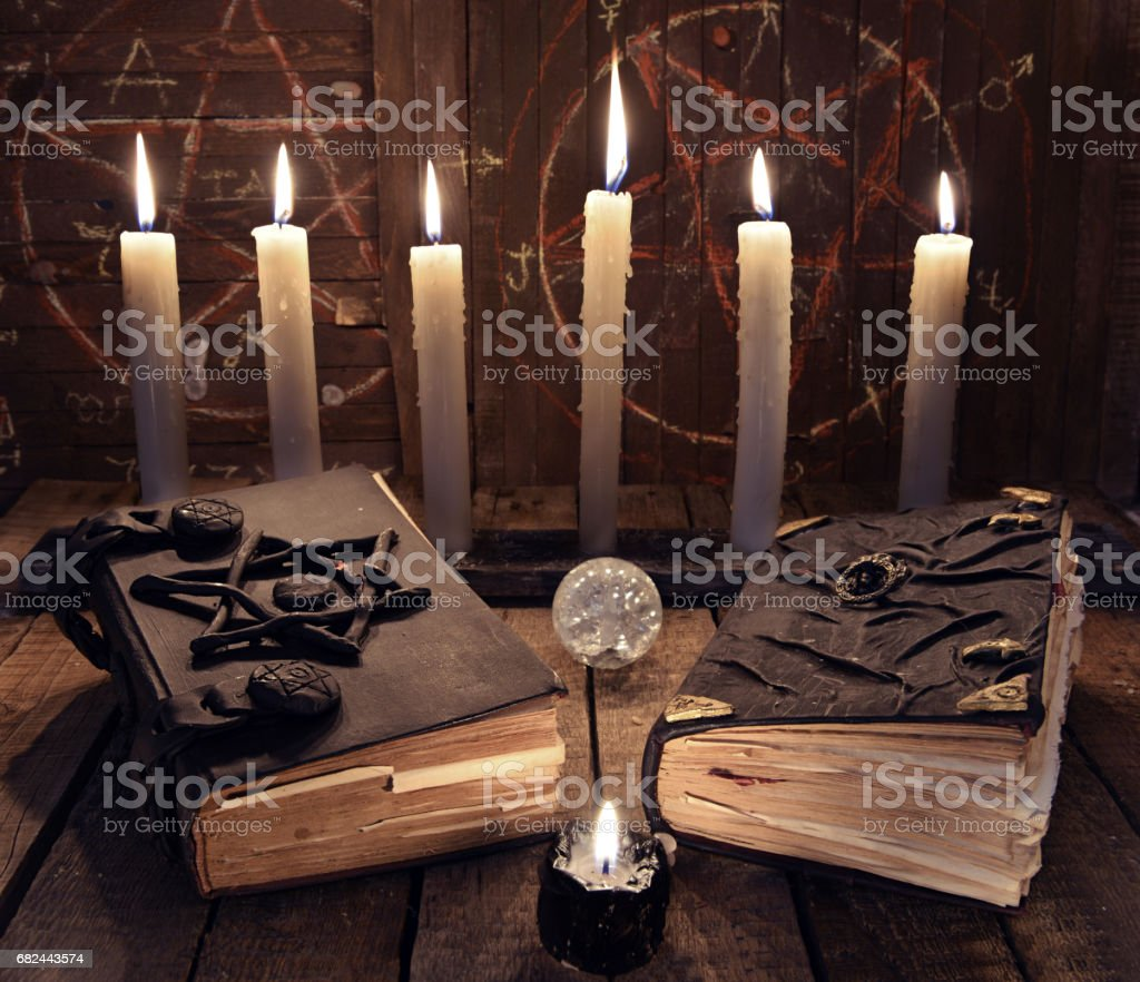 Esoteric Still Life With Two Black Magic Books And Candles