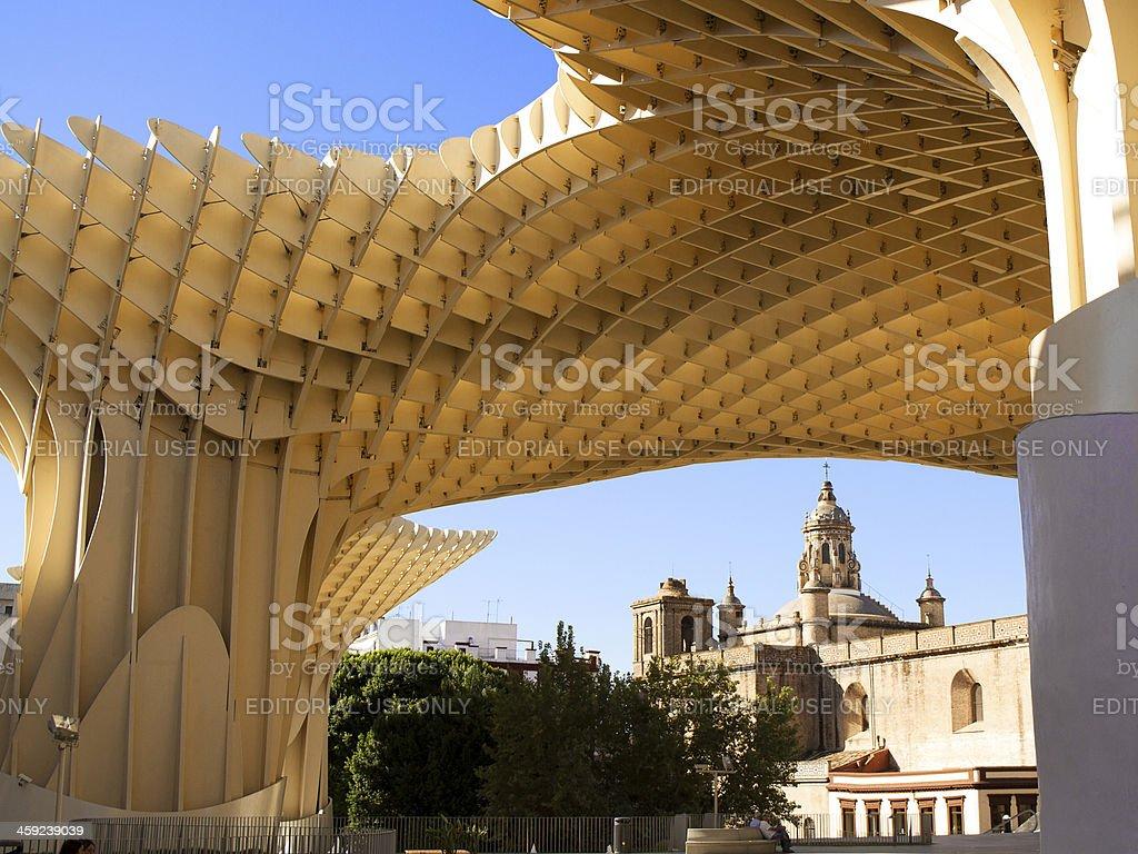 Espacio Metropol Parasol and Church of Anunciacion, Seville, Spain stock photo