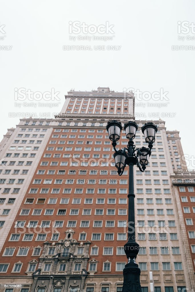 Espana building in Madrid, low angle view stock photo
