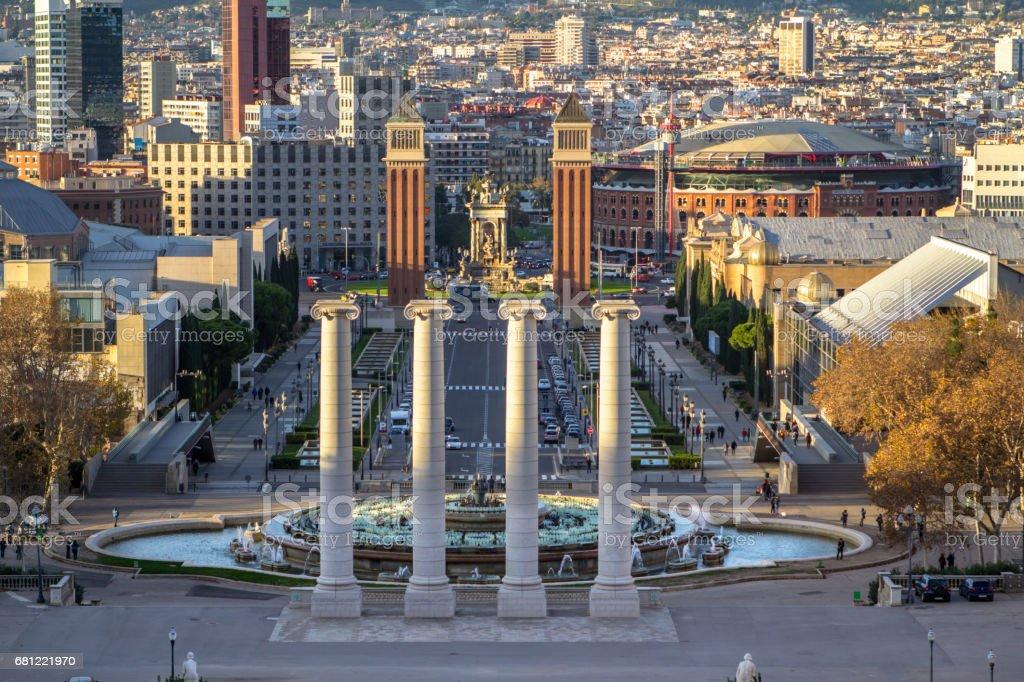 Espanya Square in Barcelona and Tibidabo stock photo