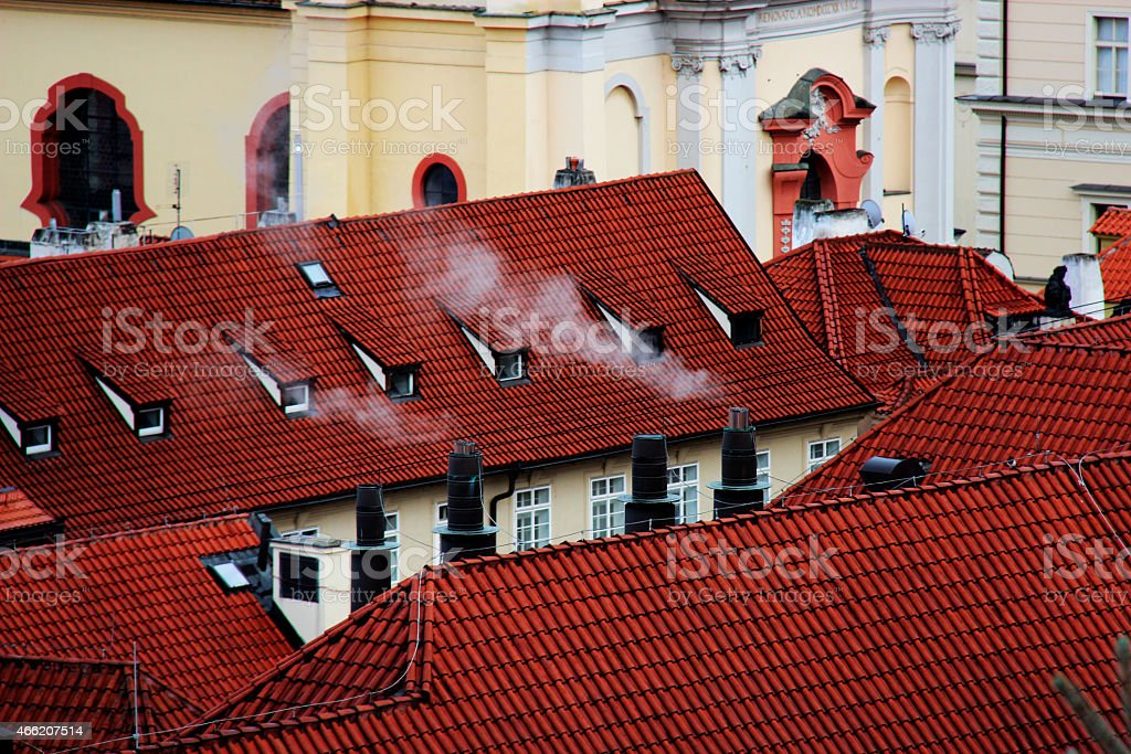 especially the roofs of prague stock photo