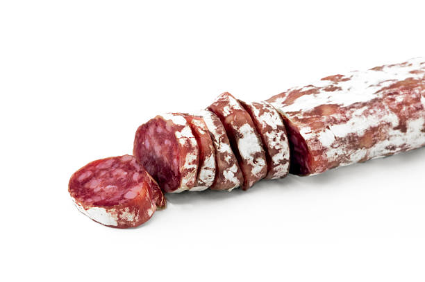 espetec aislado sobre fondo blanco.  comida típica de cataluña - fuet sausages fotografías e imágenes de stock