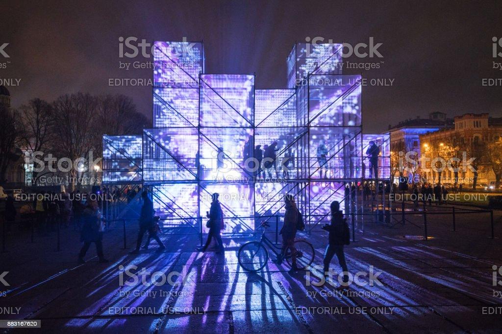 "Esplanade of Riga amidst the light festival ""Staro Riga"". stock photo"
