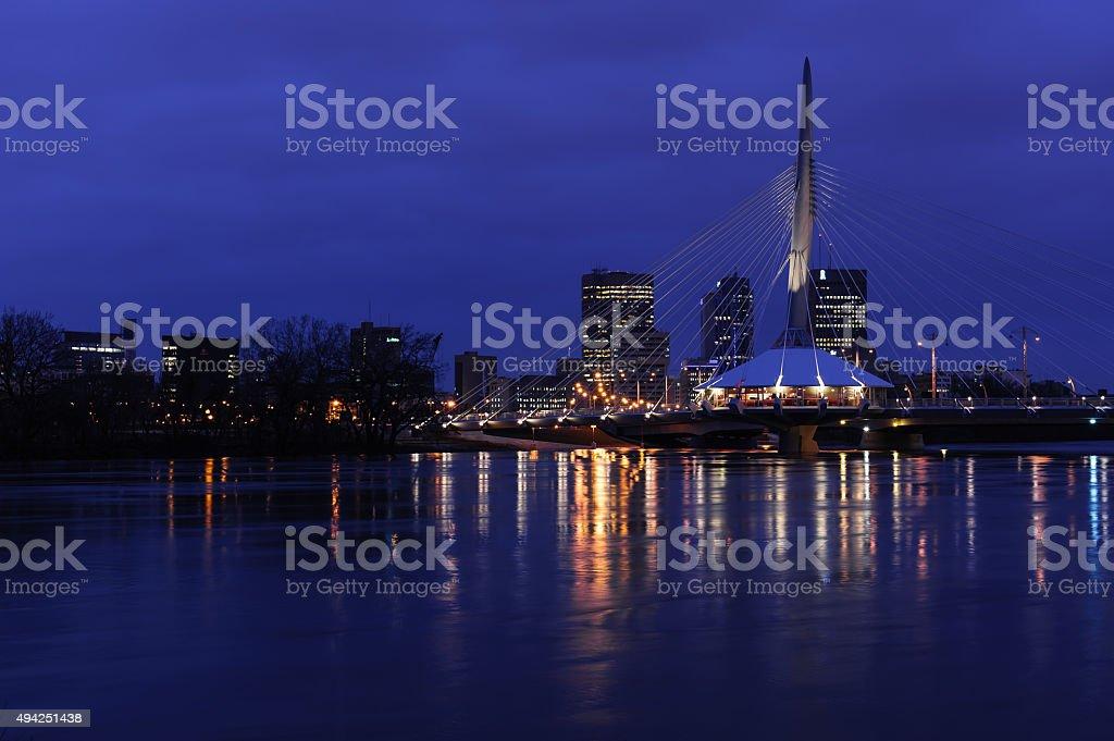 Esplanade Riel bridge at night stock photo