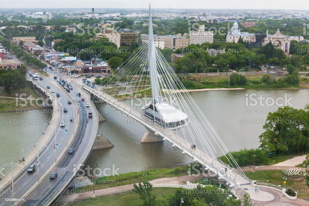 Esplanade Riel Bridge in Winnipeg, Manitoba, Canada stock photo
