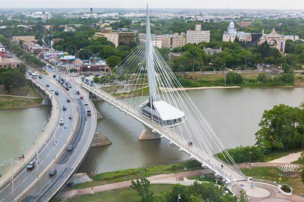 Esplanade Riel Bridge in Winnipeg, Manitoba, Canada stock photo