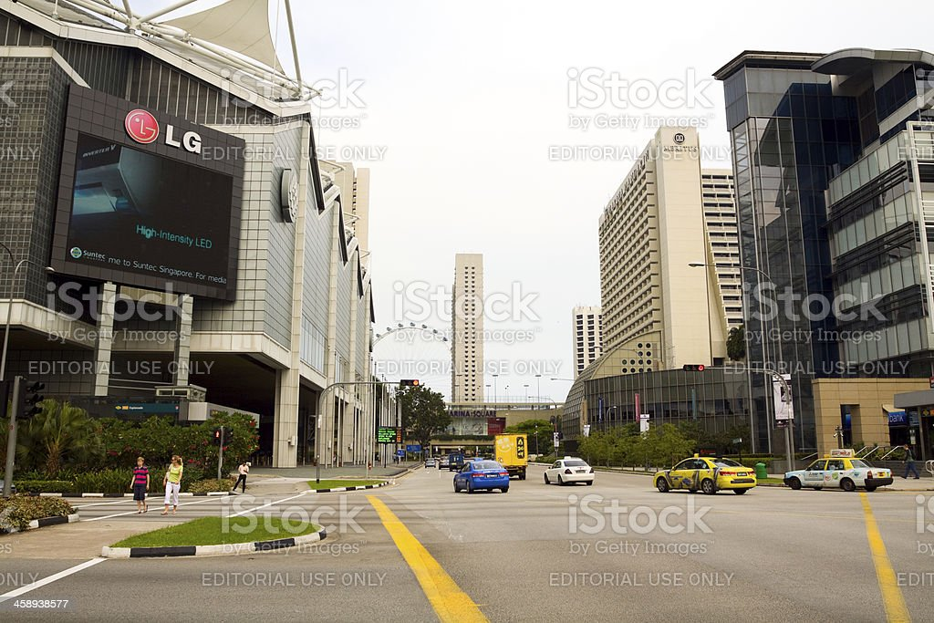 Esplanade Square and junction in Singapore stock photo
