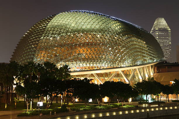 """Esplanade Theater """"Marina Bay, Singapore - January, 13th 2011 : Esplanade Theatres at night. It is located in Marina Bay near the Singapore River. The durian-shaped Esplanade is a landmark and tourist attraction in Singapore."""" esplanade theater stock pictures, royalty-free photos & images"""