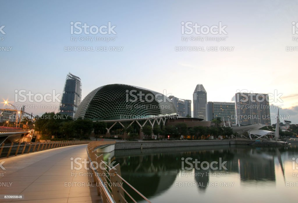 Singapore - JULY 8, 2017 : Esplanade theatre locating around the Marina Bay in Singapore. stock photo