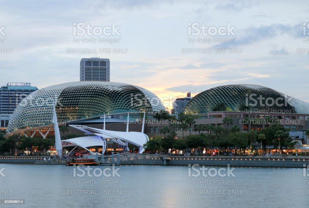 Singapore - JULY 9, 2017 : Esplanade theatre locating around the Marina Bay in Singapore. stock photo