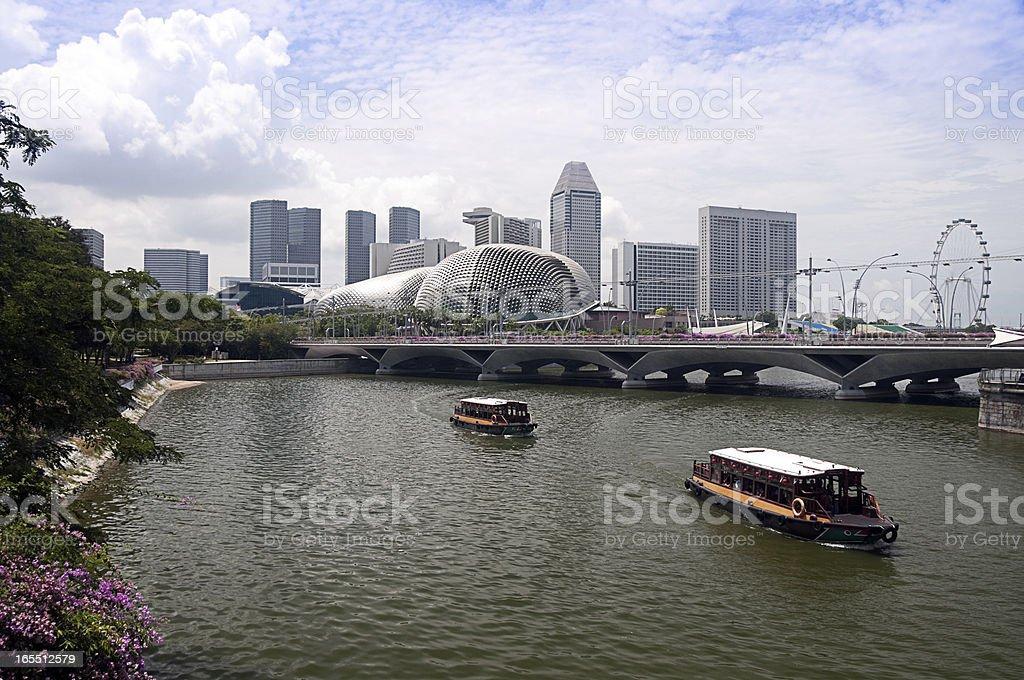 Esplanade Theatre Singapore beside quay with boat stock photo