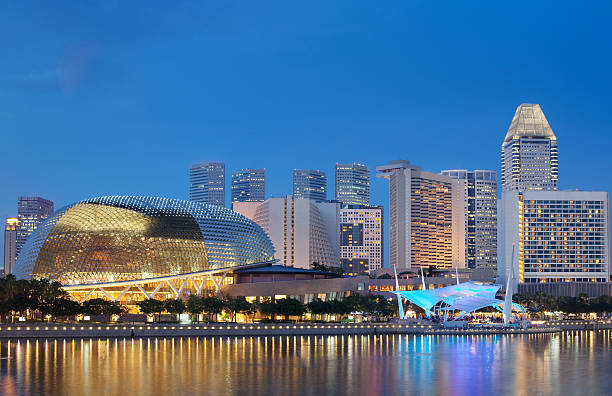 """Esplanade Theatres on the bay by Singapore's waterfront during night """"Located at Waterfront, Marina Bay, mouth of Singapore River. The Esplanade is a world renowned  performing arts centre.  Its twin domes are also nicknamed as the Durian by Singaporeans. Shot during evening time."""" esplanade theater stock pictures, royalty-free photos & images"""