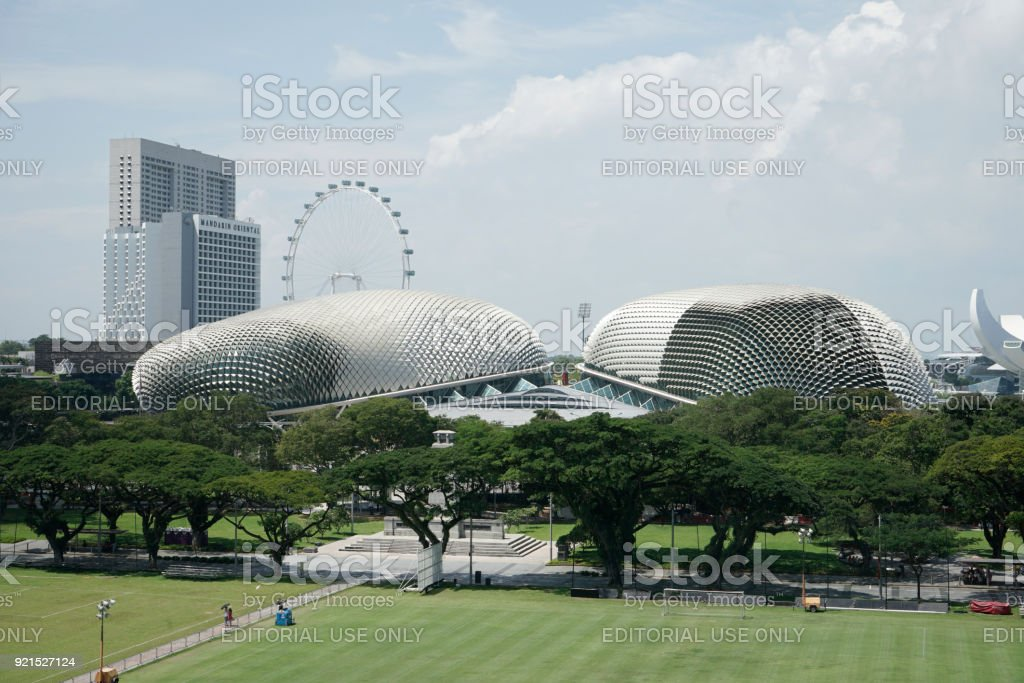 Esplanade Theatres on the Bay located in Marina Bay in Singapore stock photo