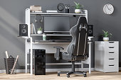 istock E-sport On Computer With Gaming Chair At Home And Gray Wall Background 1282438638