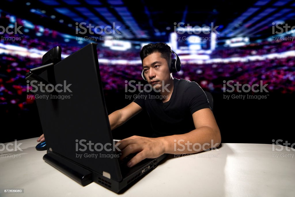 eSports Competitive Gamer in a Stadium stock photo